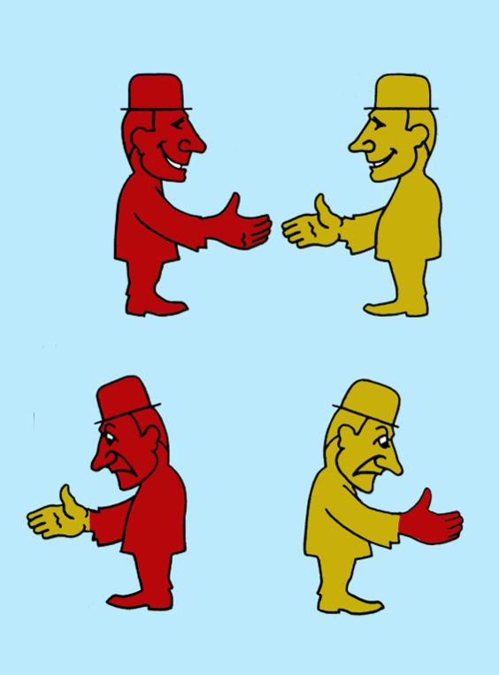 Mr Red and Mr Yellow shake hands and transfer their DNA to the other person