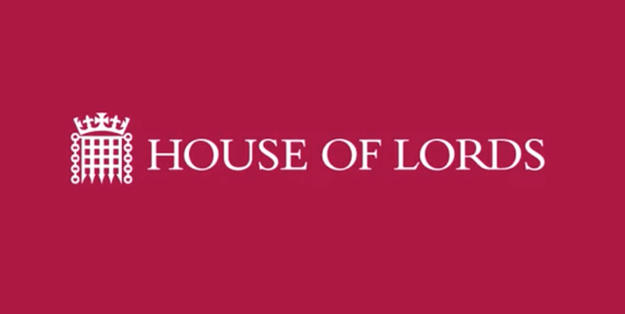 House of Lords Logo white on red background